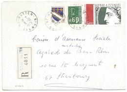 H464 - BAS RHIN - HATTEN - 1975 - ROND Avec CODE POSTAL 67 - Recommandé - - Marcophilie (Lettres)