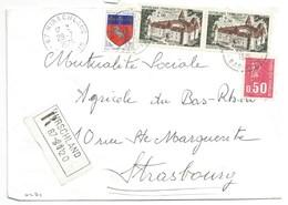 H471 - BAS RHIN - HIRSCHLAND - 1975 - ROND Avec CODE POSTAL 67 - Recommandé - - Marcophilie (Lettres)