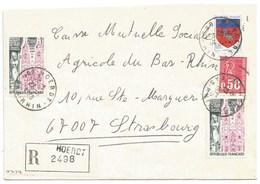 H474 - BAS RHIN - HOERDT - 1975 - ROND Avec CODE POSTAL 67 - Recommandé - - Marcophilie (Lettres)