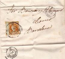 Año 1860 Edifil 52 4c Isabel II Carta  Matasellos  RUEDA DE CARRETA 23 Castellon De La Plana , Viuda De Pich - Usados
