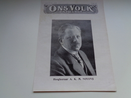 """Origineel Knipsel ( 2148 ) Uit Tijdschrift """" Ons Volk """" 1927 :    Hoogleraar A.K. M. Noyons    Leuven  Louvain - Vieux Papiers"""