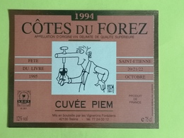 COTES DU FOREZ 1994  ETIQUETTE CUVEE PIEM DECOREE PAR PIEM FETE DU LIVRE 1995 - Fumetti