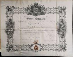 Diplôme Et Correspondances Commandeur De L'Ordre D'Isabelle La Catholique, Par Marie Christine Reine D'Espagne 1862 - Medals