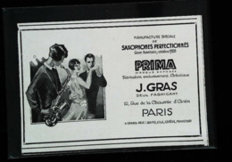Publicité Manufacture Saxophone  Prima  J. GRAS  Genre Américain   - Coupure De Presse (illustration) De 1928 - Instrumentos De Música