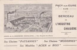 PS / PACY SUR EURE (27) Berceau De L'Industrie Chaisière . PUB Usine De La CHAISERIE FRANCAISE 7 Rue Dupont -de-l'Eure - Pacy-sur-Eure