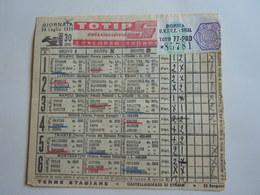 SCHEDINA GIOCATA TOTIP CORSE CAVALLI GIORNATA 30 1955 - Equitation