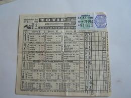 SCHEDINA GIOCATA TOTIP CORSE CAVALLI GIORNATA 13 1955 AGRUMI DI SICILIA - Equitation