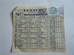 SCHEDINA GIOCATA TOTIP CORSE CAVALLI GIORNATA 28 1955 AGRUMI DI SICILIA + BRIOSCHI - Equitazione