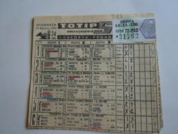 SCHEDINA GIOCATA TOTIP CORSE CAVALLI GIORNATA 34 1954 RADIO ELETRONICA TELEVISIONE - Equitazione