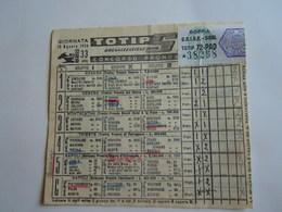 SCHEDINA GIOCATA TOTIP CORSE CAVALLI GIORNATA 33 1954 RADIO ELETRONICA TELEVISIONE FIERA DI MESSINA - Equitation