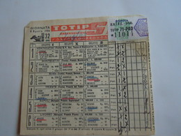 SCHEDINA GIOCATA TOTIP CORSE CAVALLI GIORNATA 32 1954 RADIO ELETRONICA TELEVISIONE FIERA DI MESSINA - Equitation