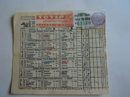 SCHEDINA GIOCATA TOTIP CORSE CAVALLI GIORNATA 30 1954 RADIO ELETRONICA TELEVISIONE TERIAM OROLOGI - Equitation