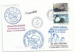 YT 91 Eléphant De Mer - YT 90 Manchot Adélie - Posté à Bord De L'Astrolabe - Dumont D'Urville Terre Adélie - 25/02/1997 - Brieven En Documenten