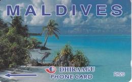 68MLDA - TARJETA DE MALDIVES DE UN PAISAJE DE PLAYA - Maldives