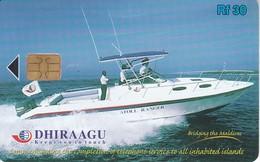 TARJETA DE MALDIVES DE RF30 DE UNA EMBARCACION (293MLDG) BARCO-SHIP (marca Doblez) - Maldiven