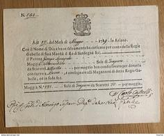 60130 - Italie Per Conto Delle Regie Gabelle Di Sua Maesta Il Re Di Sardegna 12 Maggio 1789 - Vecchi Documenti