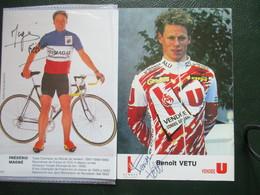 Cyclisme Lot De 2 Photos Coureurs Francais Annees 90 Pistards - Cyclisme