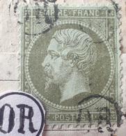 X25 - NAPOLEON III N°19 (sur Fragment) Avec 4 Cachets OR Dans Un Cercle (origine Rurale) RARE - BON CENTRAGE - 1862 Napoleon III