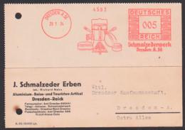 DRESDEN AFS,  Abb. Geschirr Aus Aluminium, Schmalzeder Reise- Touristikartikel, Brotbüchse, Casserole Kasseroll, 29.1.34 - Affrancature Meccaniche Rosse (EMA)