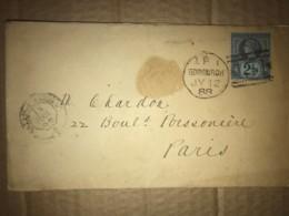 LSC 1888 From Edinburgh To Paris + Cachet Convoyeur Calais à Paris - Ambulant Ferroviaire - 1840-1901 (Regina Victoria)