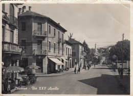BESOZZO-VARESE-VIA XXV APRILE-CARTOLINA VERA FOTOGRAFIA-VIAGGIATA 1955-1958 - Varese