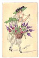 CPA Fantaisie Signée Illustrateur MIKI Jeune Femme Avec Chapeau Vert Jolie Robe Paniers De Fleurs - Autres Illustrateurs