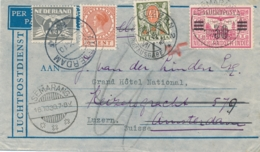 Nederlands Indië / Schweiz - 1930 - 30 Cent Opdruk Op LP-cover Naar Amsterdam, Forwarded En Taxed 40c In Luzern - Indes Néerlandaises