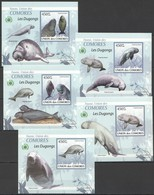 AA265 !!! IMPERFORATE 2009 DES COMORES MARINE LIFE LES DUGONGS 5 LUX BL MNH - Andere