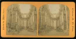 Photographie Stéréoscopique Teller Treves Trier Ruines De L'Eglise  Bords Du Rhin Collection AP Paris  9 Par 17 Cm - Photos