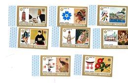 Rwanda 1970-Expo Osaka,peinture Japonaise,oiseaux-362/69***mnh-Bords De Feuille NON Dentelé - 1970 – Osaka (Japan)