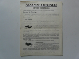 NOTICE D'EXERCICES - ADAMS - TRAINER - Old Paper