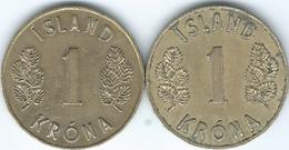 Iceland - 1 Króna - 1946 - KM12 & 1969 - KM12a - Iceland