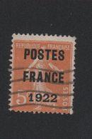 Faux Préoblitéré N° 36 5 C Semeuse Poste France 1922 2eme Choix - 1893-1947