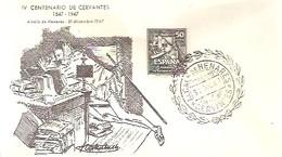 POSTMARKET  ESPAÑA  1947  CERVANTES  -EL QUIJOTE - Ecrivains