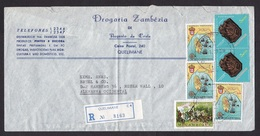 Mozambique: Registered Cover To Germany, 1973, 6 Stamps, Mineral, Map, History, Ship, R-label, Rare Real Use (damaged) - Mozambique
