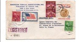 USA ETATS UNIS AFFRANCHISSEMENT COMPOSE SUR LETTRE RECOMMANDEE POUR LA FRANCE 1958 - Lettres & Documents