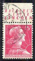 France - Marianne De Muller - N° 1011 - Oblitéré - Publicité Lincoln - Publicités