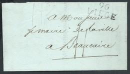 """L. 5.1.1814 (toute Fin Période Française) De La 25eme Div Militaire 96/LIEGE (28X14 Non Repris) + """"11"""" Pour Beaucaire. - 1794-1814 (Période Française)"""