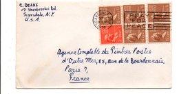 USA ETATS UNIS AFFRANCHISSEMENT COMPOSE SUR LETTRE POUR LA FRANCE 1958 - Lettres & Documents
