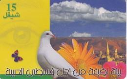 TARJETA DE PALESTINA DE UNA PALOMA Y MARIPOSA 03/2001 Y TIRADA 200000 - Palestine