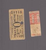 Metro RATP / Lot De 2 Tickets / Un Avec Année 1945 - Europe