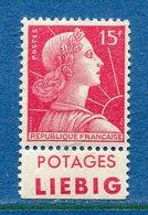 France - Marianne De Muller - N° 1011 - Neuf Sans Charnière - Publicité Liebig - TB - Publicités