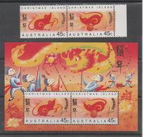 Christmas Island 1996, MNH, Michel 415_16, Bl 10, Year Of The Rat, Se-tenant Pair - Christmas Island