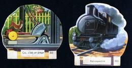 Découpis Publicité La Vache Sérieuse Le Petit Grosjean Série Le Train Chemin De Fer Signé Ducré N°302 303 Années 1950 TB - Altri