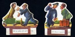 Découpis Publicité La Vache Sérieuse Le Petit Grosjean Série Le Train Chemin De Fer Signé Ducré N°299 301 Années 1950 TB - Altri