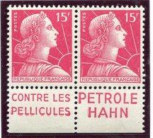 France - Marianne De Muller - N° 1011 - Neuf Sans Charnière - Publicité Pétrole Hahn - La Paire - Publicités