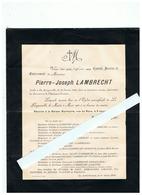 SOUVENIR PIERRE JOSEPH LAMBRECHT Décédé à LA LONGUEVILLE (NORD) 1930 - Images Religieuses