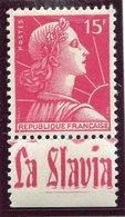 France - Marianne De Muller - N° 1011 - Neuf Sans Charnière - Publicité La Slavia - - Advertising