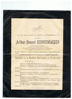 SOUVENIR ARTHUR HONERE BONNEMAISON Décédé à  PLOMION (AISNE) 1929 - Images Religieuses