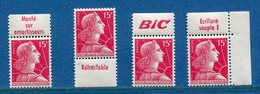 France - Marianne De Muller - N° 1011 - Neuf Sans Charnière - Lot De 4 Timbres Publicitaire - Pub Diverses - Publicités
